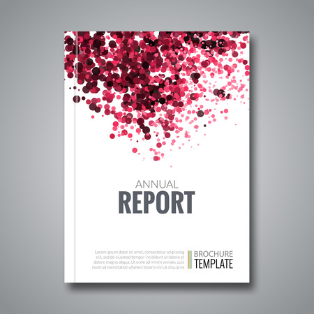 simulating: Business Report Design Background with Colorful Red Dots, simulating Watercolor.