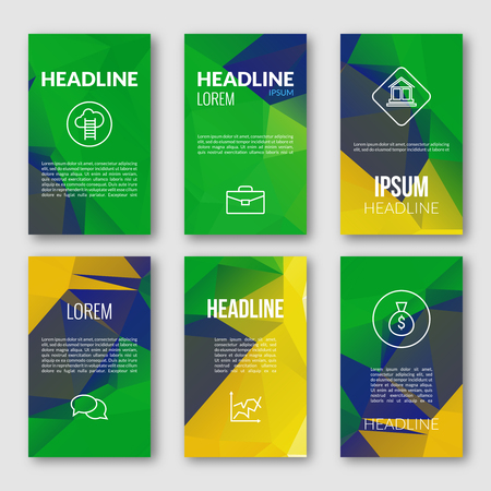 fag: Vector Geometric Banners Set. Brazil Fag Color Background. Abstract Light Bright Sparkle Backdrop for Business, Web, Print. Illustration
