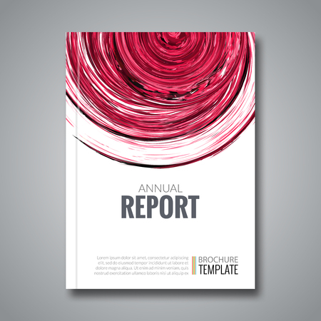 Business Report Design Background with Colorful Red Circle Shape, simulating Watercolor. Brochure Cover Magazine Flyer Template Banners, vector illustration Illustration