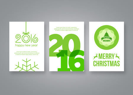 year: Happy new year 2016 and Merry Christmas vector green modern brochure design template with numbers. Set of Postcard, invitation. Vector illustration.