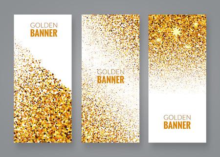 sequin: Gold sparkles on white backround Illustration
