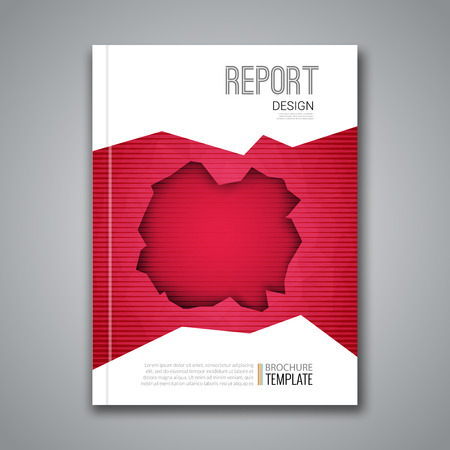 broadsheet: Cover Report Business Colorful Red Polygonal Hole Geometric pattern Design Background, Cover Magazine, Brochure Book Cover Template, vector illustration Illustration