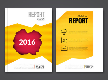 sample environment: Cover Report Business Yellow Red Hole Geometric pattern Design Background, Magazine Cover, Brochure Book Cover Template with icons and infographics, vector illustration