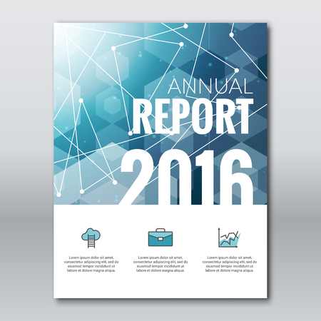annual report: Cover Report Business Colorful Blue Triangle Hexagonal Polygonal 2016 Geometric pattern Design