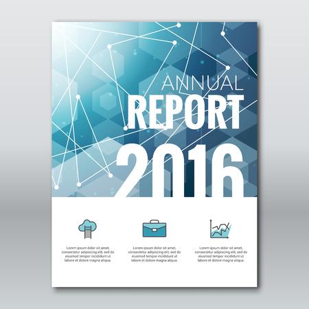 informe: Cubierta Business Report colorido azul Tri�ngulo Hexagonal poligonal 2016 Dise�o modelo geom�trico