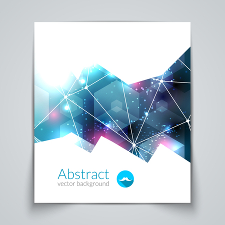 crystal: Abstract triangular 3D geometric colorful blue background cover report brochure template. Illustration