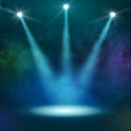 Premiere Blue Show background sparkles. Smoky vector stage shining with rays spotlight Illustration