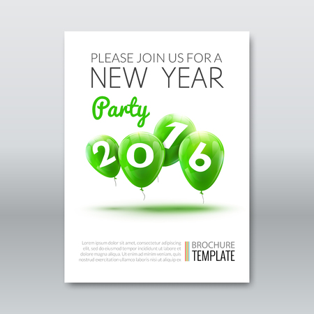 holiday invitation: Template invitation new year holiday. Holiday card dedicated to the Christmas and New Year 2016. 3D balloons, Green colors, on a white background. Vector illustration Illustration