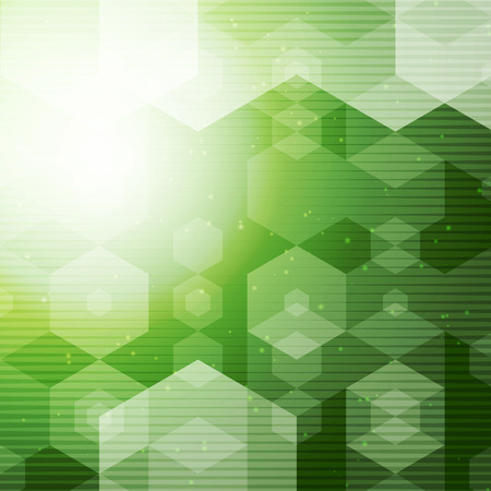 green lines: Abstract Polygonal space Green Hexagonal background with connecting Dots and halftone lines. Vector illustration