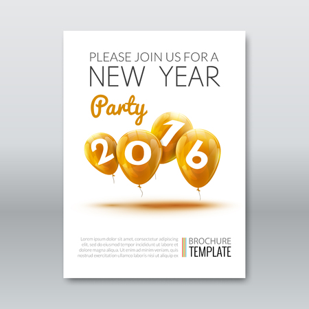 Template invitation New Year Holiday. Holiday card dedicated to the Christmas and New Year 2016. 3D balloons, Yellow colors, on a white background. Vector illustration