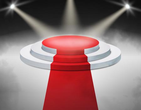 award ceremony: Smoky Stage Podium Illuminated with spotlight for award ceremony.