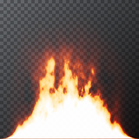 special effects: Realistic Fire flames on Transparent grid background. Special effects. Vector illustration. Translucent elements. Transparency grid Illustration