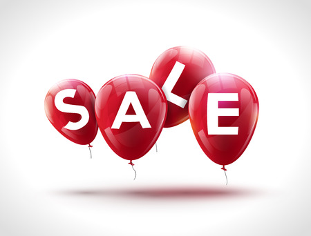 red balloons: Flying balloons, concept of SALE for shops. Four red flying party balloons with text SALE. Sale discount concept vector illustration