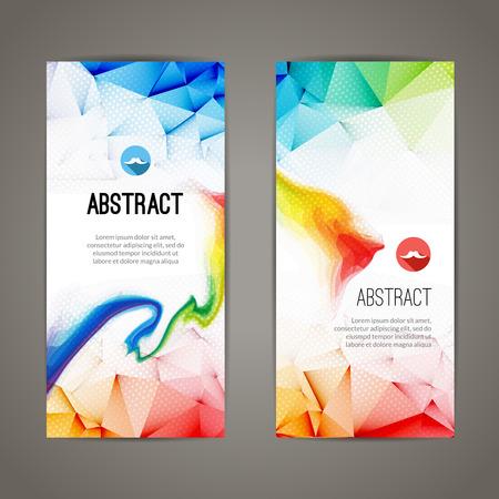 Conjunto de banderas geométricas poligonales y triangulares para el diseño moderno. Web, comercio electrónico, eventos.