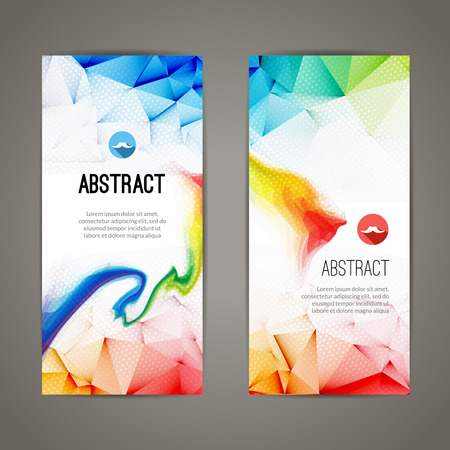 Set of polygonal and triangular geometric banners for modern design. Web, commerce, events. 矢量图像