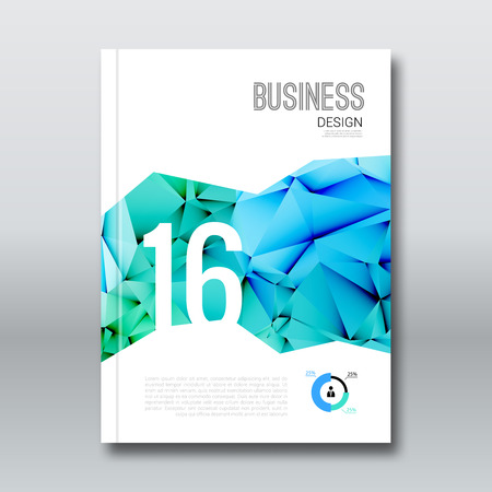 Negocio Diseño de portada de revista de libros folleto fondo, Informe Anual de Aqua Marine triangular plantilla de diseño, ilustración vectorial
