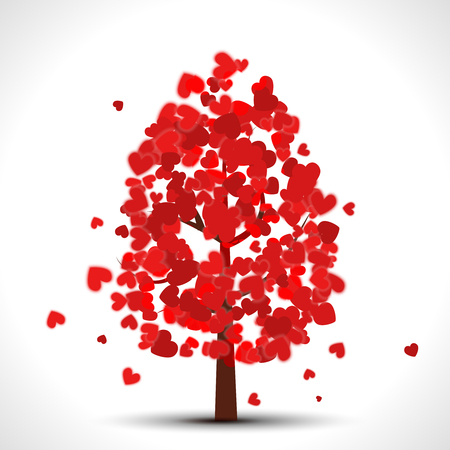 valentine tree: Valentine tree with red falling hearts for your design Illustration