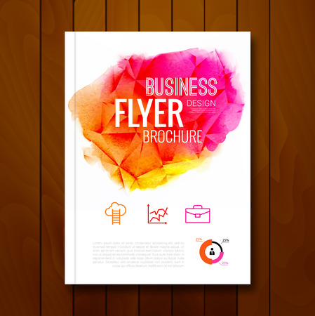 business ideas: Colorful Business background watercolor stain design. Cover Brochure Magazine flyer report modern unusual template layout mockup infographic. Vector illustration