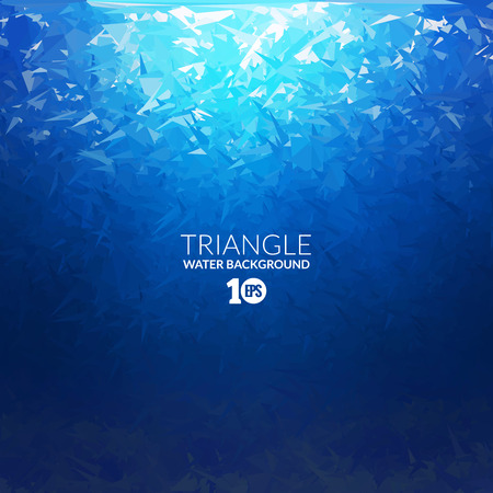ocean background: Vector Abstract triangle underwater background with sunlight, abstract texture, abstract space background, abstract ocean background