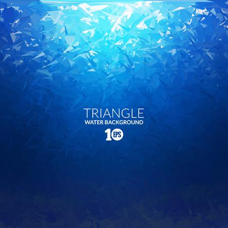 Wektor abstrakcyjna trójkąt podwodne tle z promieni słonecznych, abstrakcyjne tekstury, abstrakcyjnej przestrzeni, abstrakcyjne tle ocean
