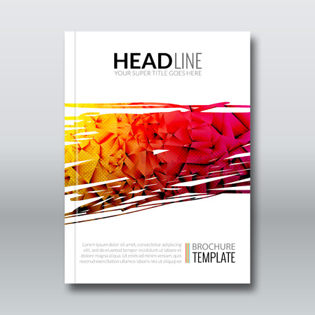 magazine layout: Cover report colorful triangle geometric prospectus design background, cover flyer magazine, brochure book cover template layout, vector illustration