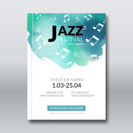 Jazz music vector poster templates set. Hand drawn Watercolor stain background. Abstract background for card, brochure, banner, web design, poster background template. Stock Illustratie