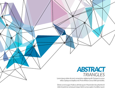 Vector polygonal triangle abstract shapes techno background Çizim