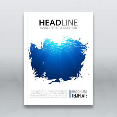 Vector report brochure poster cover template mockup layout with underwater blue background in splash frame 일러스트