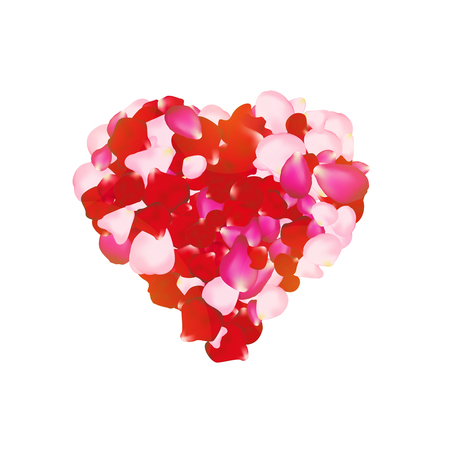 hearty: Vector rose petals heart. Can be used for creating postcards, wedding albums, footage etc. Gradient mesh technique.