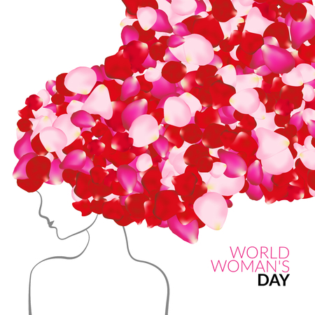 Womans day international holiday concept with rose petals instead of hair Illustration