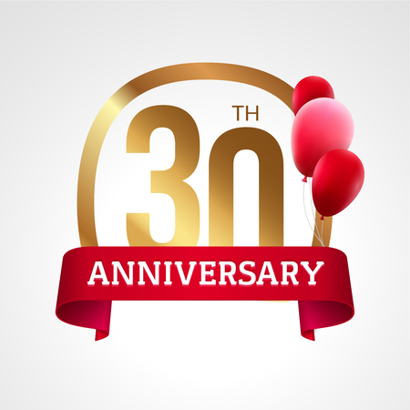 30 years: Celebrating 30 years anniversary golden label with ribbon and balloons, vector template.