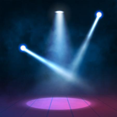 zábava: Světlomety bodová světla svítí dřevěnou scénu. vektor illustartion