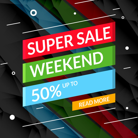 super market: Super Sale poster on ribbon. Sale promotional background poster for store shop market Illustration