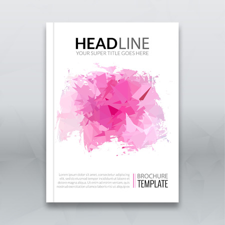 brochure cover: Cover report colorful triangle pink geometric prospectus design background, cover magazine, brochure book cover template layout, illustration.