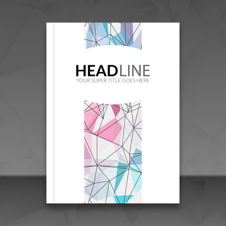 broadsheet: Cover report colorful triangle geometric lines prospectus  design background, cover template, brochure mockup book layout, illustration