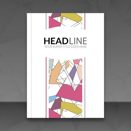 cover art: Cover report colorful triangle geometric lines prospectus design background, cover magazine, brochure book cover template layout,  illustration.