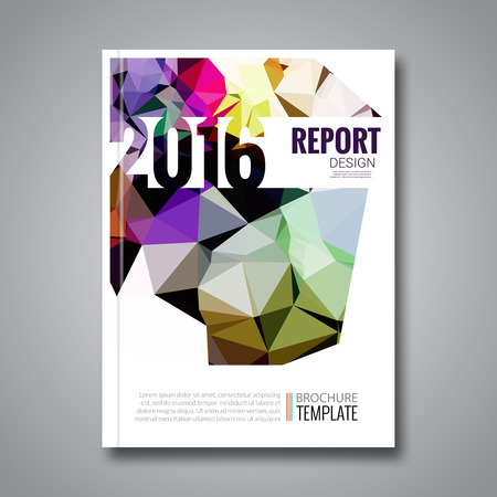 prospectus: Cover report colorful triangle geometric prospectus design background, cover magazine, brochure book cover template layout, illustration.