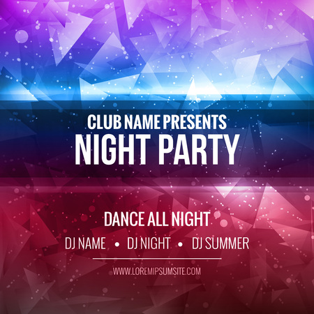 nightclub: Notte Dance Party Template Poster Background. Festival mockup