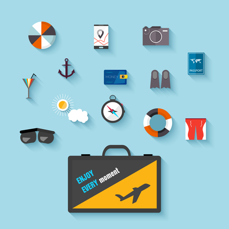 sunglasses recreation: Flat design icons. Set of traveling on airplane, planning a summer vacation, tourism, journey objects, passenger luggage vector Illustration