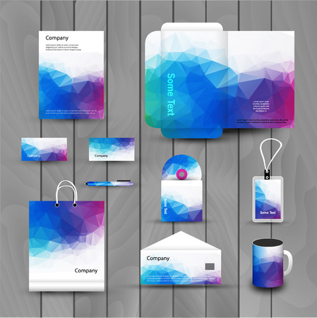 Corporate brand Business identity design Template Layout. Letter, Letterhead, Folder, card. Vector company triangle style branding design layout. Brand id theme.