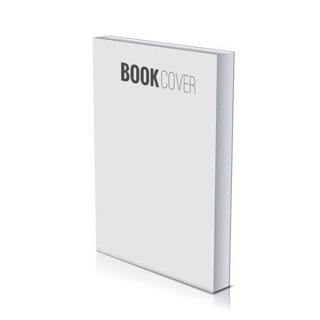 3d Book cover paperback page document template, blank isolated on white. Ilustracja
