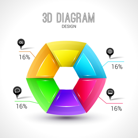 trendy shape: 3d diagram infographic, colorful and trendy shape.