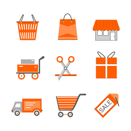 gift basket: Set of shopping and retail flat vector icons. Shop shopping bag discount label basket gift shipping shopping cart and delivery Illustration