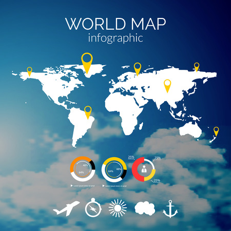 world icon: vector world map illustration and infographics design template on cloudy sky background.