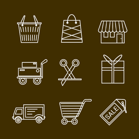 gift basket: Set of shopping and retail outline vector icons. Shop shopping bag discount label basket gift shipping shopping cart and delivery.