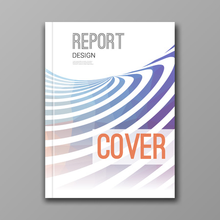 colore: Business design template. Cover, brochure, report, book, magazine layout mockup with nice colore lines stripes geometric shapes info-graphic, vector illustration.