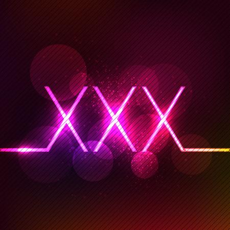 Neon leuchtende XXX Zeichen. Erwachsene nur Design-Konzept-Vorlage