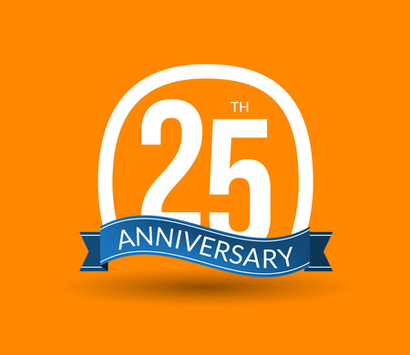 20th: 25 Anniversary numbers with ribbon. Flat origami style with long shadow. 20th anniversary Vector illustration.
