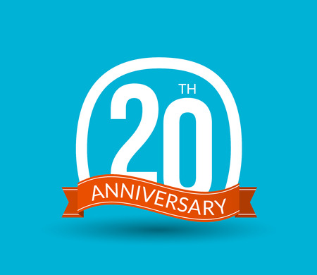 20th: 20 Anniversary numbers with ribbon. Flat origami style with long shadow. 20th anniversary Vector illustration. Illustration
