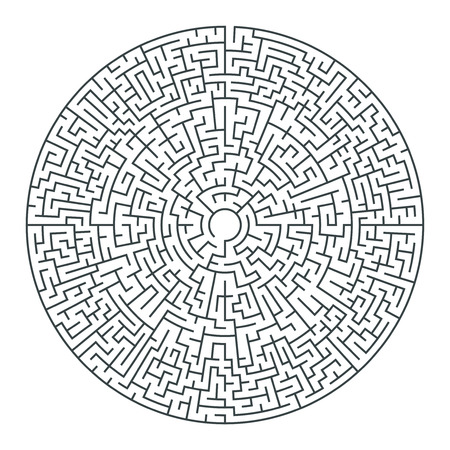Abstract vector round maze of high complexity template layout